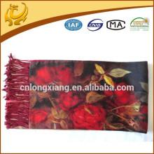 New Fashion Double Sided Mulheres Pashmina Silk Shawl Scarf Wrap Padrão Floral Shawl Impresso