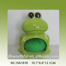 Cute ceramic sponge holder in frog shape