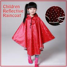 Reflektierende rote schwarze Kinder Sicherheit Regenmantel Poncho mit Punkt Muster für Mädchen Junge Regenbekleidung