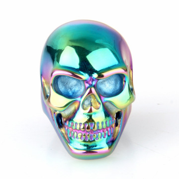 Stainless Titanium steel ring colored black skull