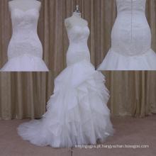 2015-2016 organza sereia vestidos de noiva babados