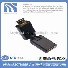 HD Rotación de 360 grados Giratorio HDMI macho a HDMI Adaptador de oro femenino ajustable
