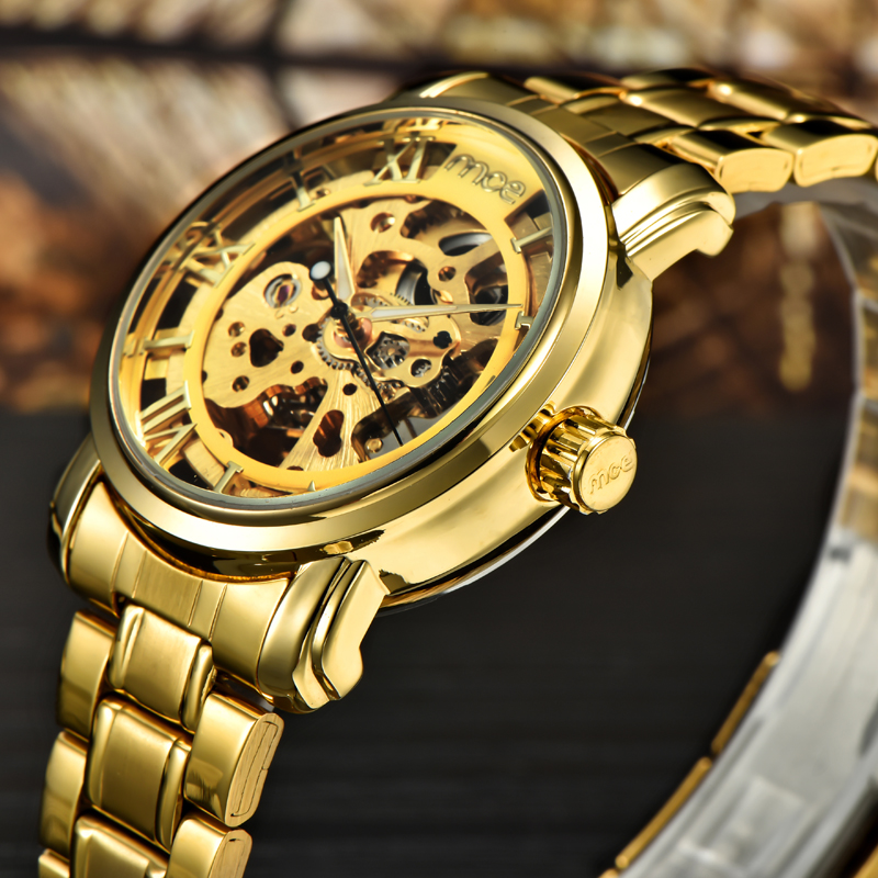 2017 modern design steel gold watches women