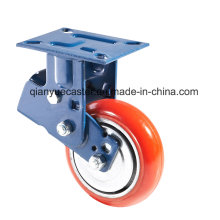 PU Casting Iron Heavy Duty Shock Absorption Caster / Castor, rígido