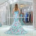 2017 new mermaid floral formal evening dress 2pcs halter light blue elegant latest evening dresses for fat ladies