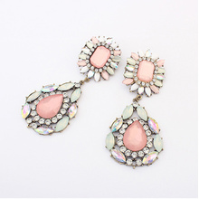 Designer Jewelry New Coming Fashionable Antique Gold Color Alloy Pink White Big Imitation Gemstone Drop Earring for Women