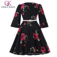 Grace Karin Children Kids Girls Vintage Retro Flower Pattern Bell Sleeve Cotton Girls Party Dress CL010475-1
