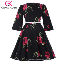 Grace Karin Crianças Crianças Meninas Vintage Retro Flower Pattern Bolinho de luva de algodão vestido de festa de meninas CL010475-1