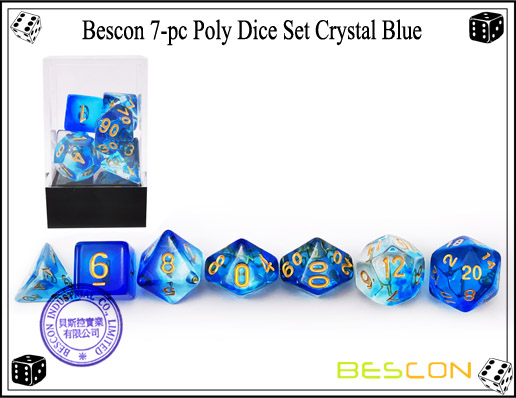 Crystal Blue Dice Set-4