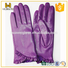 Gants en peau de mouton violet en cuir véritable garni de laine d'hiver de la fabrique
