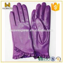Winter Wool Lined Girls Genuine Leather Purple Sheepskin Gloves from Factory