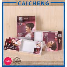 Boîte faite sur commande de papier d'emballage d'extension de cheveux avec la fenêtre de PVC