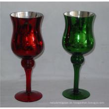 Hochwertiger Galvanisierbarer Glasstamm Kerzenständer (DRL06162)