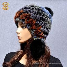 Neue koreanische weibliche Art und Weise warmer Winter-Frauen-Kaninchen-Pelz-Hut
