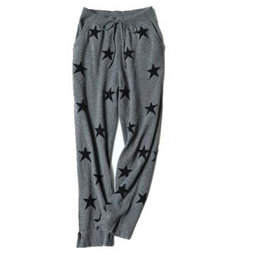 100% Kaschmir Damen Strickwaren mit hohen Taillen, um warm zu bleiben und legere Sterne direkt nach unten zu tragen lange Hosen