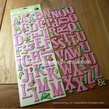 Etiquetas engomadas tridimensionales hechas a mano del arte del papel del alfabeto / de la letra