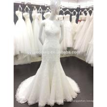Free Shipping Real Sample Elegant Appliqued Lace Mermaid Wedding Dess/Gown Scoop Neck Sleeveless Vestidos de Noiva 2016 A057
