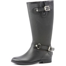 Black Fashion And Handsome Riding Rubber Rain Boots