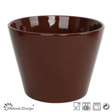 Tazón de cerámica de 13cm Sólido esmalte marrón oscuro