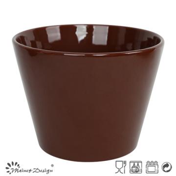 Bol en céramique de 13 cm Glaçure marron foncé solide
