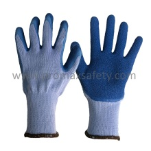 10 Gauge Grey Tc Knitted Gloves with Blue Crinkle Latex Palm Coated