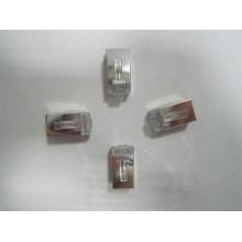 Transparente Crystal rj11 conector rj45 conector, 10 pinos rj45 conector de rede de baixo preço