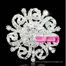 Broche de cristal feminino de mulher chapeada de prata