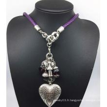 Collier de perles de coeur en alliage de chaîne en cuir (XJW13783)