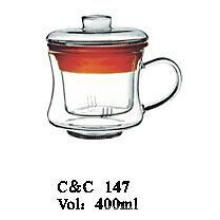 2016 New Design Clear Pyrex Glass 400ml Teapot with Handle, New Hot Selling Design Glass Teapot