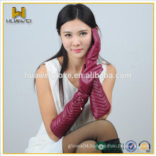 Elbow length ladies sheepskin leather winter long arm gloves