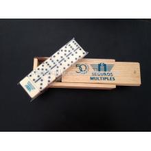 Mini dominó conjunto em caixa de madeira