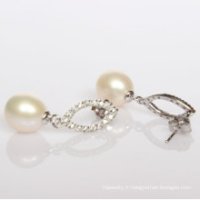 Boucles d'oreilles en perles d'eau douce en forme de 925 (ER1424)