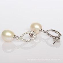 925 Серебряные модные пресноводные жемчужные серьги (ER1424)
