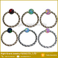 Synthetic Fire Opal Ball Captive Bead Ring Twisted Opal Nose Septum Ring