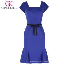 Grace Karin Ladies Cap Sleeve Square Neck Hips-Wrapped Mermaid Bodycon Femme Robe bleue avec ceinture noire CL010450-2