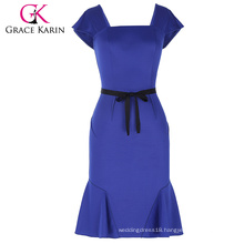 Grace Karin Ladies Cap Sleeve Square Neck Hips-Wrapped Mermaid Bodycon Women Blue Dress With Black Belt CL010450-2