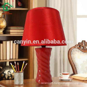 Red ceramic porcelain table desk lamp with fabric shade