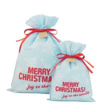 Sac de rangement cadeau de Noël non tissé bleu