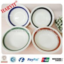 Ensaladera de porcelana de cerámica con línea de color