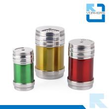 Botella de condimento condimentada de especias de pimienta de sal de acero inoxidable rotativa de colores