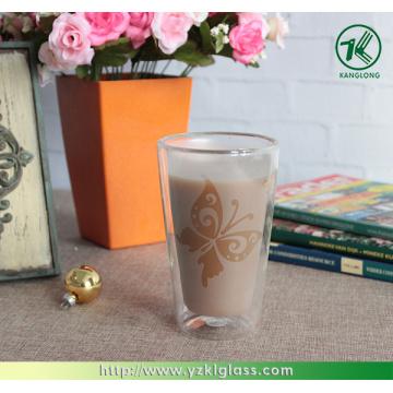 Стеклянная чашка с двойной стенкой для кофе