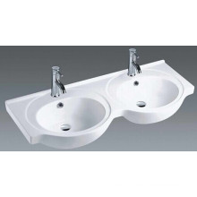 Bathroom Ceramic Double Bowls Vanity Basin (1201)