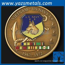 Customizecoin, benutzerdefinierte Metall Vietnam Navy K9 Einheit Herausforderung Münze