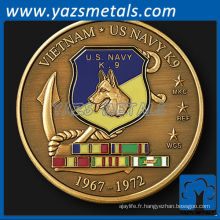 customizecoin, custom metal Vietnam Navy K9 Unit challenge coin