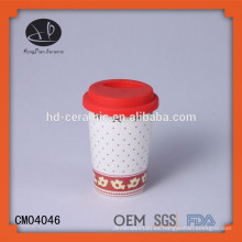 Vaso de pared doble de cerámica con tapa de silicona, taza de diseño personalizado con tapa de silicona