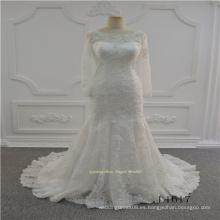 Vestido de novia de encaje marfil musulmán de manga larga