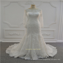 Long Sleeve Ivory Muslim Lace Wedding Dress