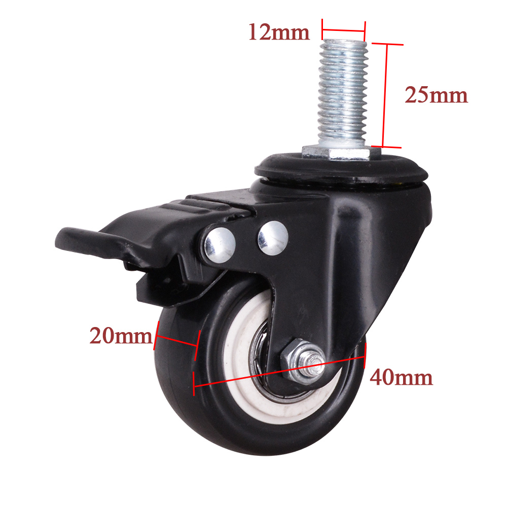 1 5 Inch Black Pvc Stem Caster With Brake