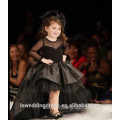 RP0168 2016Wholesale champagne front short back long girl dress bow pearl baby girls cloths real long sleeve flower girl dresses