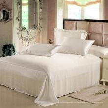 Folha 100% lisa branca da cama do algodão liso (WSFS-2016009)